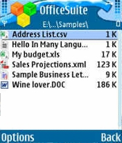 OfficeSuite 2.20 - Symbian OS 9.1